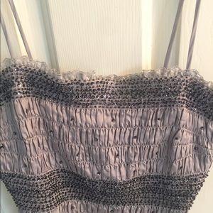 Cache Tops - Dressy gray and sequin spaghetti strap top